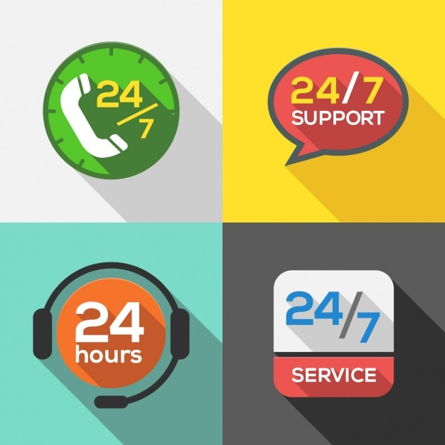 24 hours service logos collection Free Vector