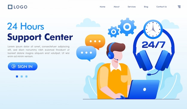 24 hours support center landing page illustration vector Premium Vector