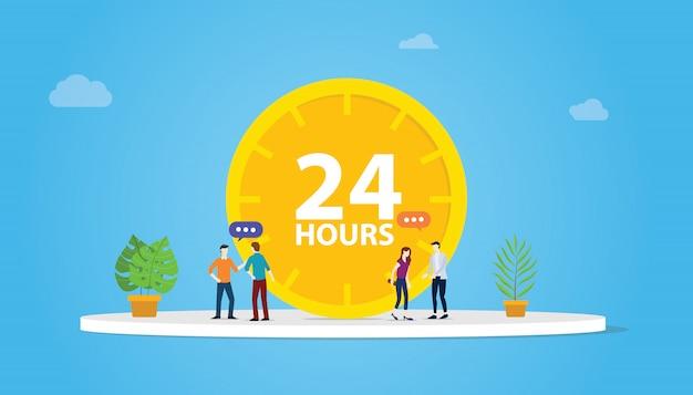 24 hours support service concept Premium Vector