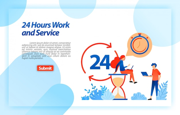 24 hours work customer service to support users in getting better information and services anytime and anywhere. landing page web template Premium Vector