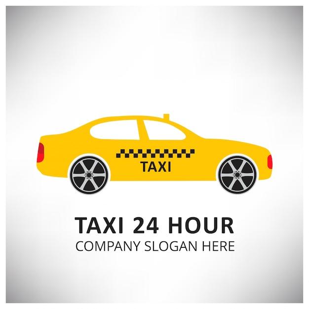 Знак такси в такси служба такси 24 часа serrvice желтый автомобиль такси белый и серый фон Бесплатные векторы