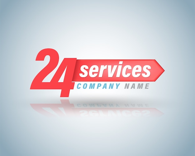 24 services symbol vector illustration. Premium Vector