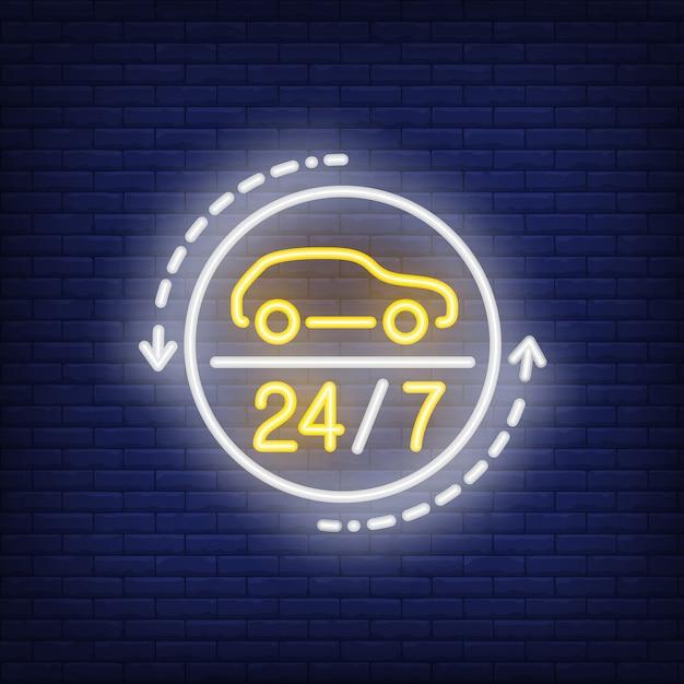 24時間の自動車修理工場のネオンサイン 無料ベクター