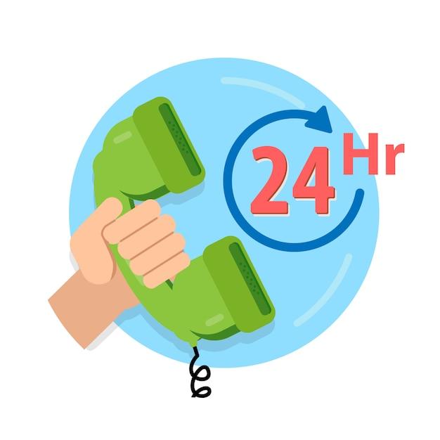 Услуги 24 часа значок, обслуживание клиентов, поддержка колл-центр. Premium векторы