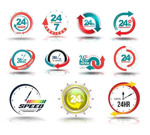 24時間オープンカスタマーサービスのコレクション。 Premiumベクター
