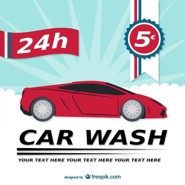 24h car wash template Free Vector