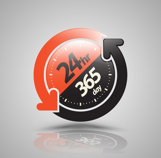 24hr 365 day with two circle arrow icon. Premium Vector