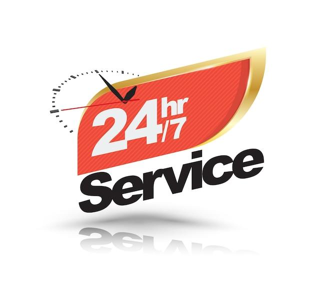 24hr /7 service with clock banner Premium Vector