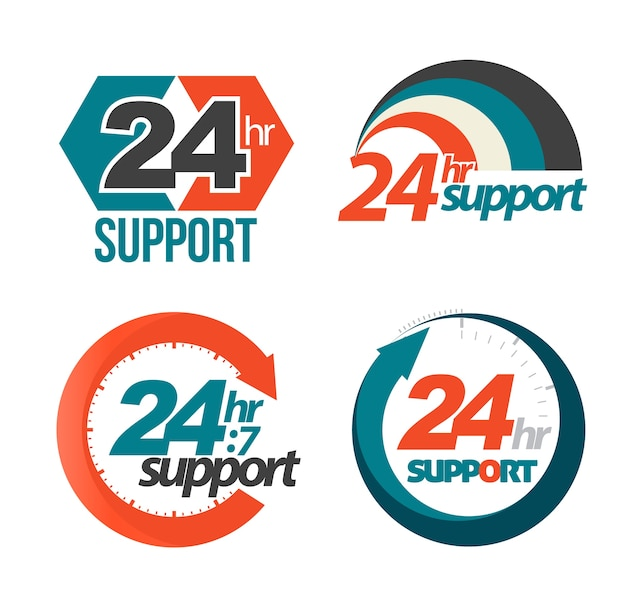 24hr 7day support set Premium Vector