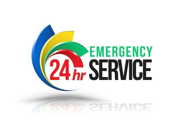 24hr emergency service logo Premium Vector