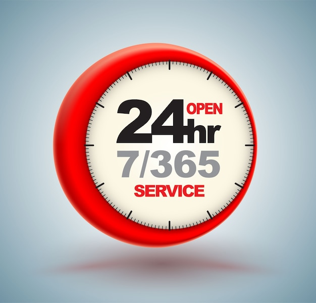 24hr services with clock scale logo 3d style. Premium Vector