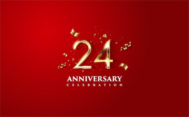 金と金のフォリオ要素の3dフィギュアのイラストを含む24周年記念。 Premiumベクター