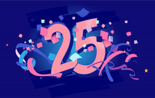 25周年記念、誕生日グリーティングカード Premiumベクター
