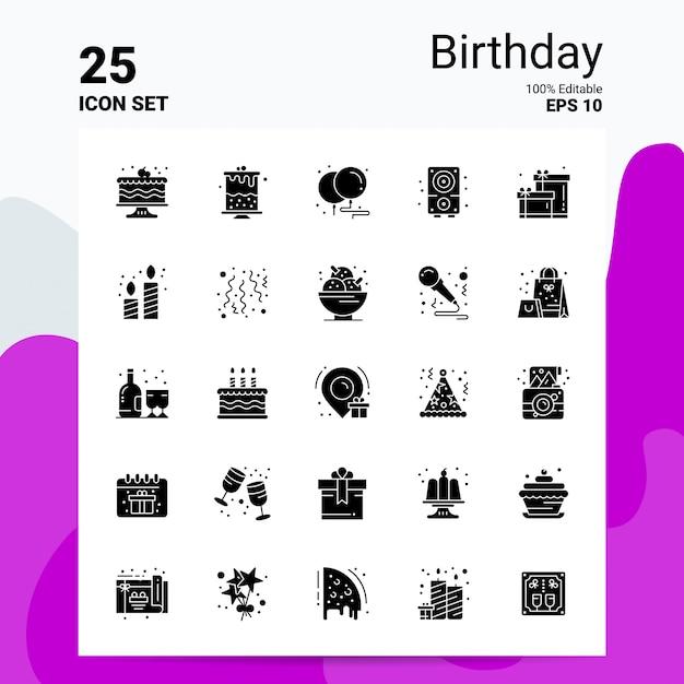 25 birthday icon set business logo concept ideas solid glyph icon Premium Vector
