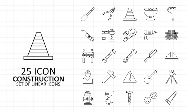 25 construction icons sheet pixel perfect Premium Vector
