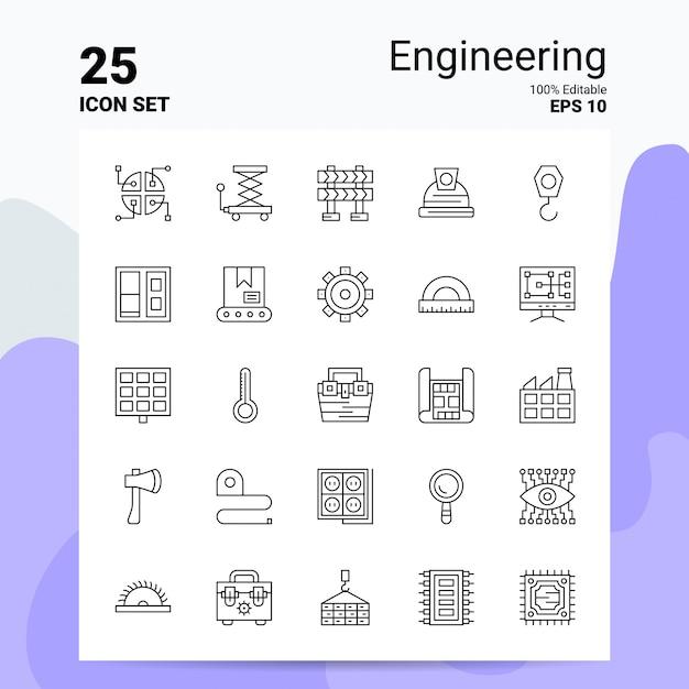 25 engineering icon set business logo concept ideas line icon Premium Vector