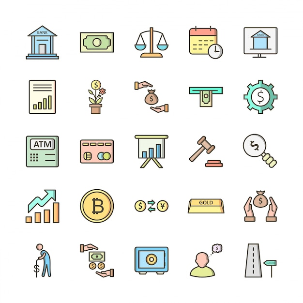 25 icon set of banking for personal and commercial use... Premium Vector