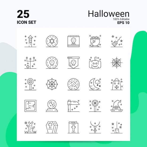 25 хэллоуин icon set бизнес логотип концепция идеи line icon Premium векторы