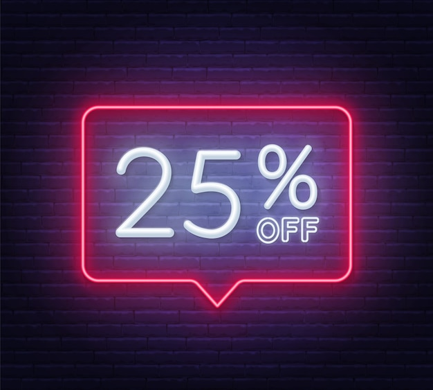 Скидка 25% на неоновую вывеску на кирпичной стене Premium векторы