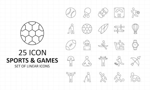 25 листовок «спорт и игры» pixel perfect icons Premium векторы
