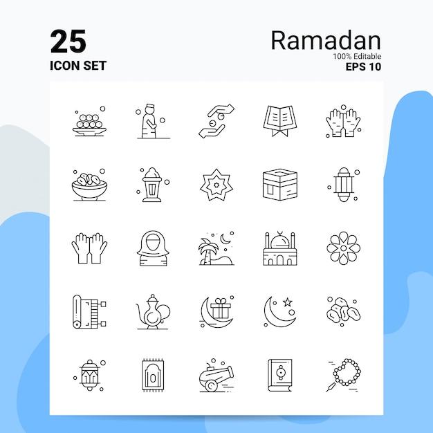 25 рамадан icon set бизнес логотип концепция идеи значок линии Premium векторы