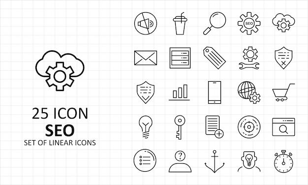 25 seo icon sheet pixel perfect icons Premium Vector