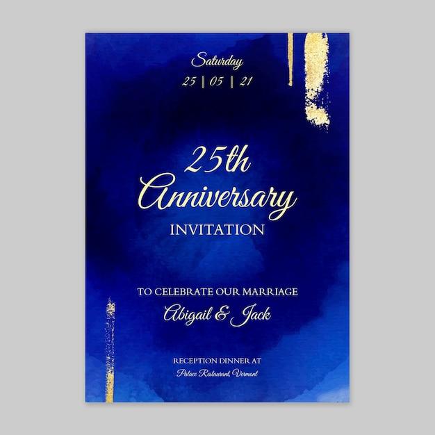 Юбилейная открытка 25 лет Бесплатные векторы