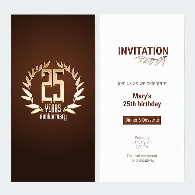 Приглашение на юбилей 25 лет Premium векторы