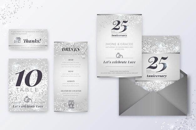 25 years anniversary stationery collection Free Vector