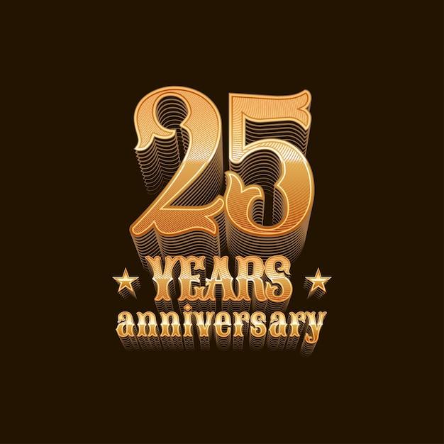 25 лет юбилей вектор символ. 25 день рождения дизайн, знак в золоте Premium векторы