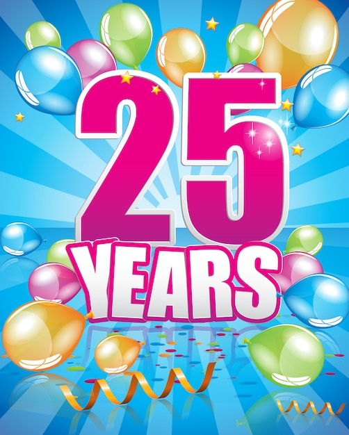25 years birthday card Premium Vector