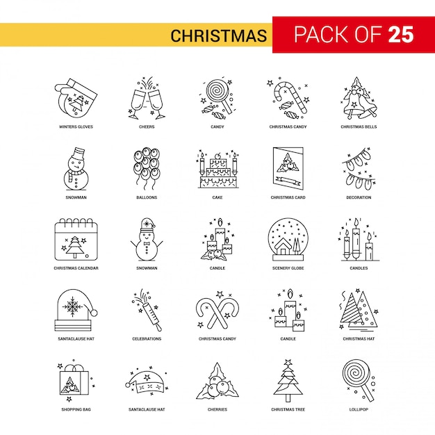 クリスマスブラックラインアイコン -  25ビジネス概要アイコンセット 無料ベクター