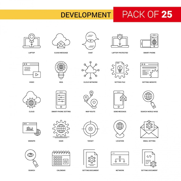 開発ブラックラインアイコン -  25ビジネス概要アイコンセット 無料ベクター