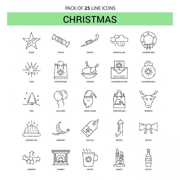クリスマスラインアイコンセット -  25点線のアウトラインスタイル Premiumベクター