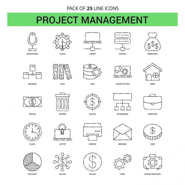 プロジェクトマネジメントラインアイコンセット -  25点線アウトラインスタイル Premiumベクター