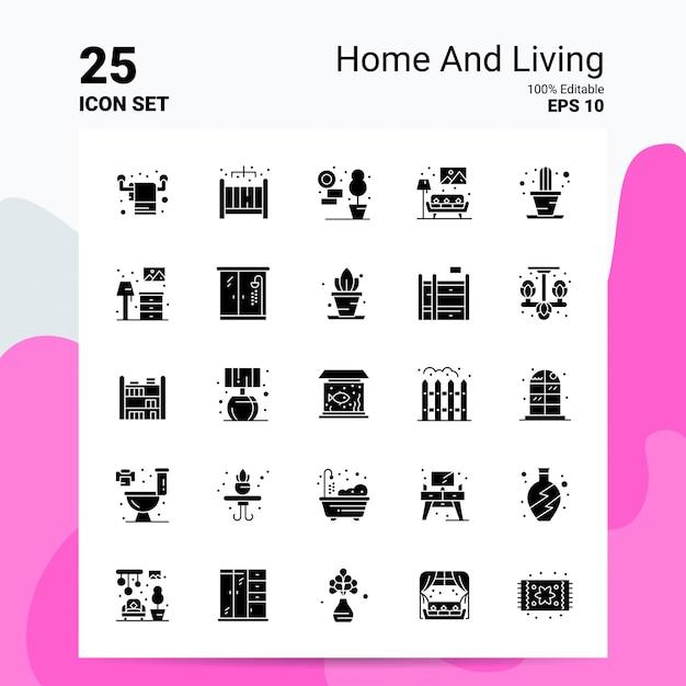 25家庭と生活のアイコンセットビジネスロゴコンセプトアイデア固体グリフアイコン 無料ベクター