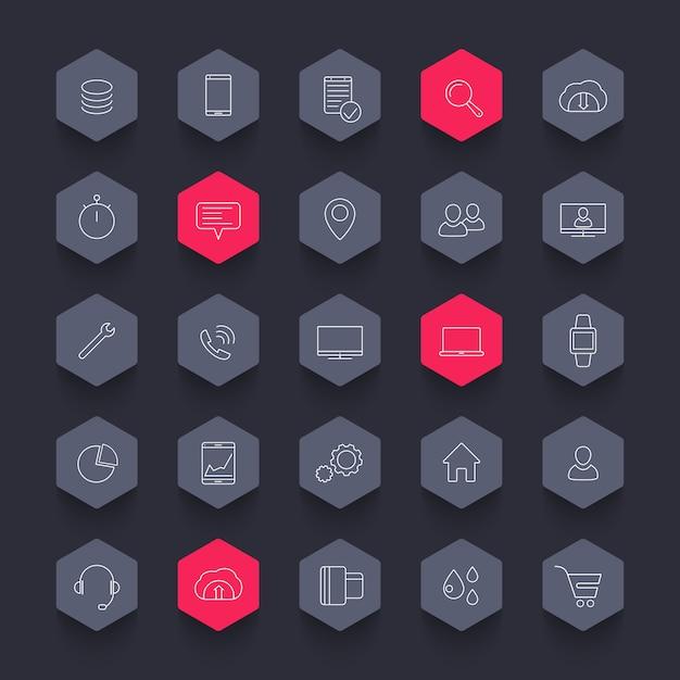25 бизнес, коммерция, линия шестигранные иконки пакет Premium векторы