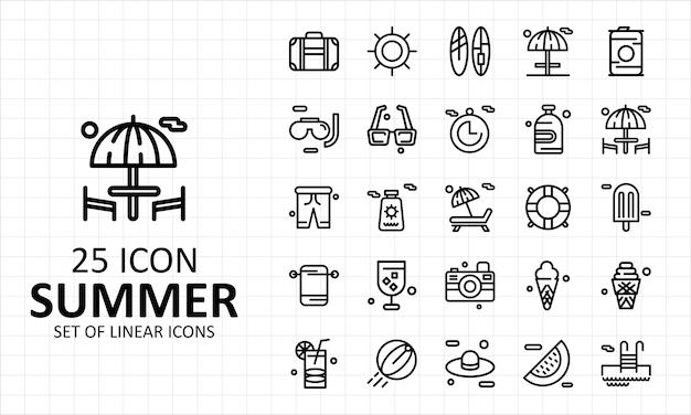 25夏アイコンシート Premiumベクター