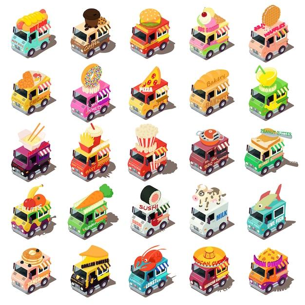 Набор иконок еды грузовик. изометрическая иллюстрация 25 продовольственных грузовиков векторных иконок для веб-сайтов Premium векторы