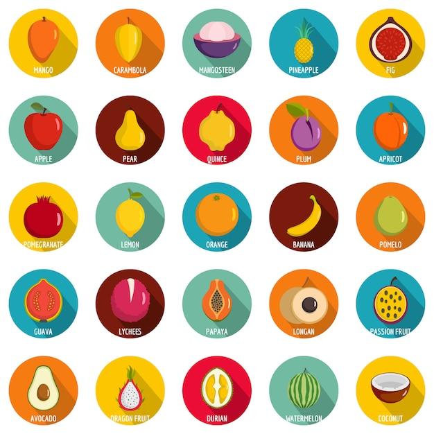 Набор иконок фрукты. плоский рисунок из 25 фруктов векторных иконок круг на белом Premium векторы