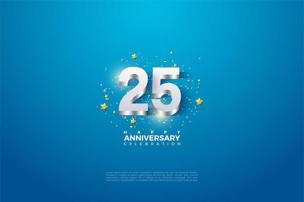 Фон к 25-летию с числами 3dimensi из блестящего серебра. Premium векторы