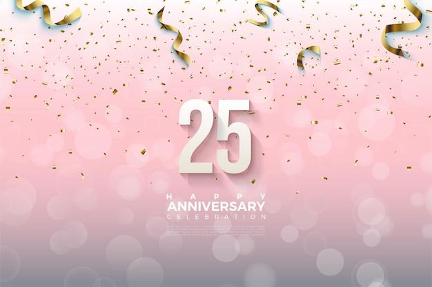 25-летие фон с числами падения и золотой бумагой. Premium векторы