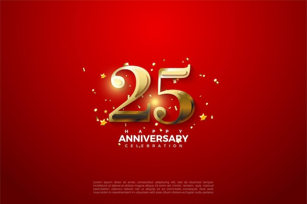 25-летие фон со светящимися золотыми числами иллюстрации. Premium векторы