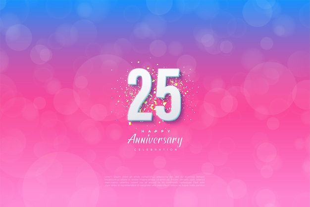 Фон 25-й годовщины с цифрой на фоне, от синего до розового. Premium векторы