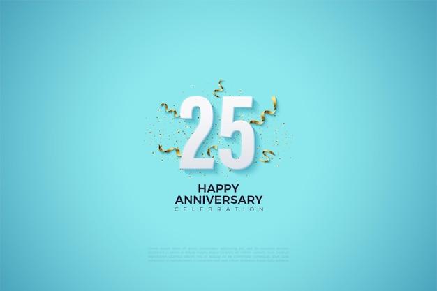 25-летие фон с числами на ярко-голубом фоне. Premium векторы