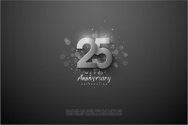 25-летие фон с серебряным номером иллюстрации. Premium векторы