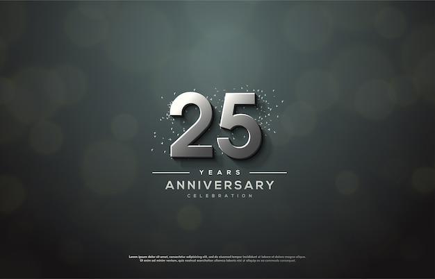 Празднование 25-летия с элегантными 3d серебряными фигурами. Premium векторы
