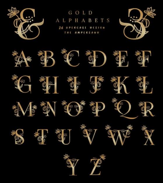 ゴールドアルファベット26大文字デザインアンパサンド Premiumベクター