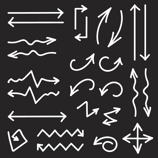 26の手描きの矢印のベクトル黒セット Premiumベクター