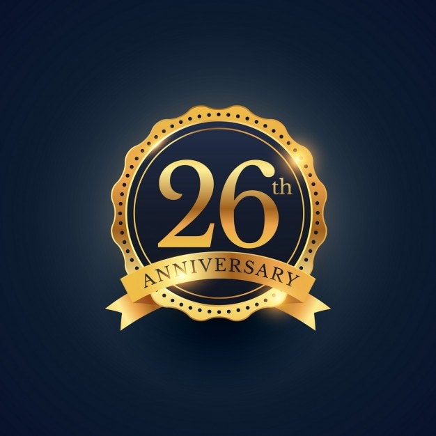 26th anniversary, golden edition Free Vector